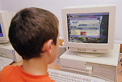 Primary school boy using Internet on computer in Information technology lesson,