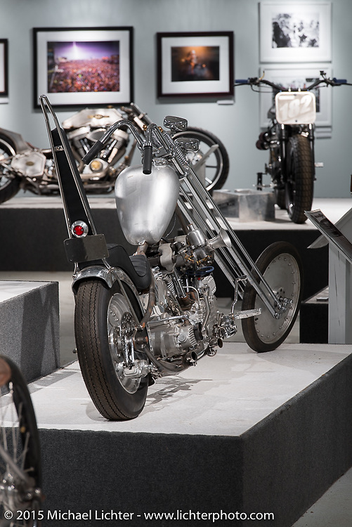 """Dan Bacon Carr's '46 knucklehead custom in Michael Lichter's annual Motorcycles as Art Show """"Naked Truth"""" at the Buffalo Chip during the 75th Annual Sturgis Black Hills Motorcycle Rally.  SD, USA.  August 6, 2015.  Photography ©2015 Michael Lichter."""