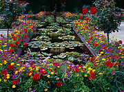 Pond in the Italian Garden at Butchart Gardens near Victoria, British Columbia, Canada.