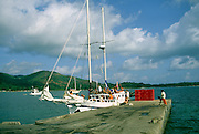 Inter island boat at jetty, Baie Ste Anne, Praslin island, Seychelles