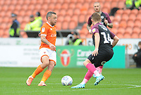 Blackpool's Jay Spearing under pressure from Peterborough United's Louis Reed<br /> <br /> Photographer Kevin Barnes/CameraSport<br /> <br /> The EFL Sky Bet Championship - Blackpool v Peterborough United - Saturday 2nd November 2019 - Bloomfield Road - Blackpool<br /> <br /> World Copyright © 2019 CameraSport. All rights reserved. 43 Linden Ave. Countesthorpe. Leicester. England. LE8 5PG - Tel: +44 (0) 116 277 4147 - admin@camerasport.com - www.camerasport.com
