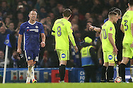 John Terry, the Chelsea captain (l) looks as if he can't believe it as he is  sent off by Referee Kevin Friend. The Emirates FA cup, 3rd round match, Chelsea v Peterborough Utd at Stamford Bridge in London on Sunday 8th January 2017.<br /> pic by John Patrick Fletcher, Andrew Orchard sports photography.