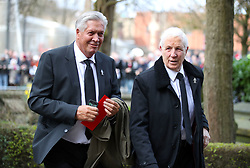 Retired footballers Bryan King (left) and Jimmy Montgomery during the funeral service for Gordon Banks at Stoke Minster.