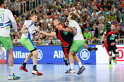 Paul Drux of Germany vs Jure Dolenec of Slovenia during handball match between National Teams of Slovenia and Germany in 2018 Men's World Championship Qualifications, on May 3, 2017 in SRC Stozice, Ljubljana, Slovenia. Photo by Morgan Kristan / Sportida