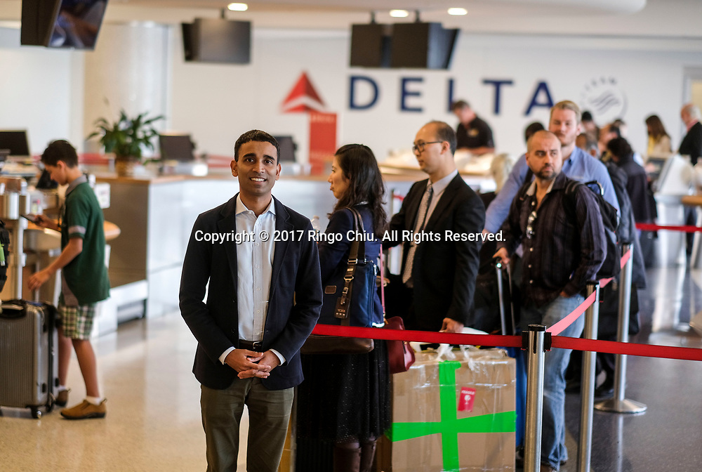 Ranjan Goswami, VIce President, Los Angeles & Sales-West for Delta Airlines, at Delta Airlines flight check-in area in LAX.  (Photo by Ringo Chiu/PHOTOFORMULA.com)<br /> <br /> Usage Notes: This content is intended for editorial use only. For other uses, additional clearances may be required.