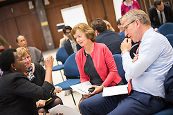 20 September 2017, Geneva, Switzerland: World Council of Churches staff gather for the annual Staff Enrichment Days. Here, group discussion between (left to right) Isabel Apawo Phiri, Marianne Ejdersten, Elaine Dykes, and Olav Fykse Tveit.