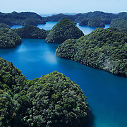 Aerial view of Palau's Rock Islands and intricate network of inner waterways