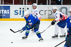 TICAR Rok (SLO) vs SMOLEC Jan (CRO) during OI pre-qualifications of Group G between Slovenia men's national ice hockey team and Croatia men's national ice hockey team, on February 7, 2020 in Ice Arena Podmezakla, Jesenice, Slovenia. Photo by Peter Podobnik / Sportida