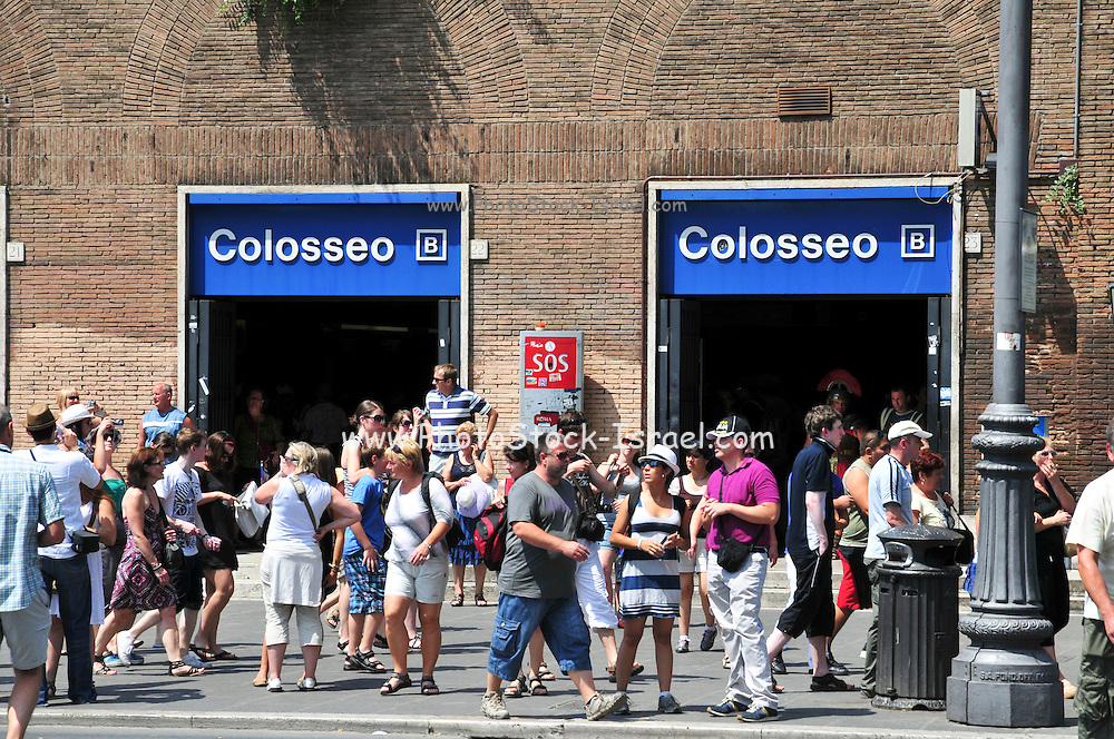 Italy, Rome, Exterior of The Colosseum metro station