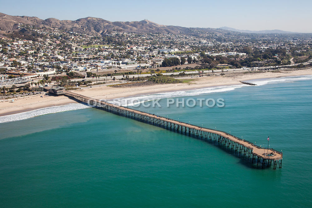 City of Ventura and Pier Aerial Stock Photo