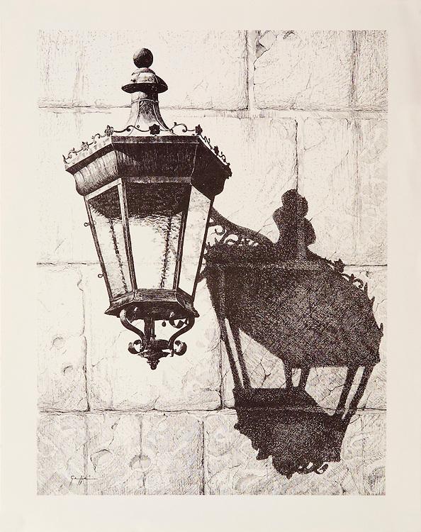 """Cat. #16 - Lithographic print of Pen and Ink drawing of a typical lantern found in the ancient cities throughout the Caribbean. This drawing is based on one in Old San Juan, Puerto Rico. <br /> Paper size is 11 x 13 7/8"""". Image size is approximately 9 x 12 """" <br /> Cat. #16 - Impresión litográfica de un dibujo a plumilla de un farol típico que se encuentran en las antiguas ciudades coloniales en todo el Caribe . Este farol esta ubicado en el Viejo San Juan, Puerto Rico. <br /> Tamaño del papel es 11 x 13 7/8"""". Tamaño de la imagen es aproximadamente 9 x 12 """""""