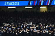 The New Zealand team line up for the anthems. Rugby World Cup 2015 quarter-final match, New Zealand v France at the Millennium Stadium in Cardiff, South Wales  on Saturday 17th October 2015.<br /> pic by  Andrew Orchard, Andrew Orchard sports photography.