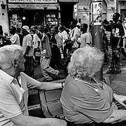 Given the poor image it offered tourists, on August 6, 2001, they were ousted from Plaza de Cataluña by the local police and began a pitiful pilgrimage through the city. Barcelona, Spain.