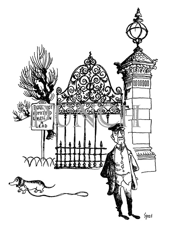 (A lone dog drags his lead through a park under the watchful eye of the park keeper)