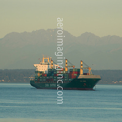 Aerial view of Container Ship, China Shipping Line on the Puget Sound
