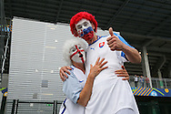 England and Slovakia fans on stilts with face paint during the Euro 2016 Group B match between Slovakia and England at Stade Geoffroy Guichard, Saint-Etienne, France on 20 June 2016. Photo by Phil Duncan.