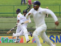 August 14, 2017 - Colombo, Sri Lanka - Sri Lankan cricket captain Dinesh Chandimal and Angelo Mathews run between the wickets during the 3rd Day's play in the 3rd and final Test match between Sri Lanka and India at the Pallekele international cricket stadium at Kandy, Sri Lanka on MOnday 14 August 2017. (Credit Image: © Tharaka Basnayaka/NurPhoto via ZUMA Press)
