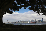 The Seattle downtown skyline catches a sun break. (Ken Lambert / The Seattle Times)