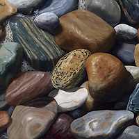 Colorful, tumbled stones line the ocean beaches of Montauk Point, Long Island.  <br /> 32 x 48, oil on panel