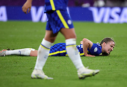 Chelsea's Niamh Charles after being fouled during the UEFA Women's Champions League final, at Gamla Ullevi, Gothenburg. Picture date: Sunday May 16, 2021.