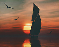 A sailboat sails on the sea at a beautiful sunset This painting easily brings the atmosphere of the sea to your home. This coastal scene can be printed in different sizes and on different materials. Both on canvas, wood, metal or framed so it certainly fits into your interior. –<br /> -<br /> BUY THIS PRINT AT<br /> <br /> FINE ART AMERICA / PIXELS<br /> ENGLISH<br /> https://janke.pixels.com/featured/sailing-boat-at-sunset-4-jan-keteleer.html<br /> <br /> <br /> WADM / OH MY PRINTS<br /> DUTCH / FRENCH / GERMAN<br /> https://www.werkaandemuur.nl/nl/shopwerk/Zeilboot-bij-zonsondergang-4/778271/132?mediumId=15&size=70x55<br /> –<br /> -