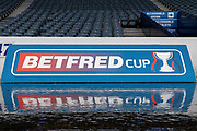 Scottish League Cup Sponsors boards at the National Stadium ahead of the Betfred Scottish League Cup Final match between Rangers and Celtic at Hampden Park, Glasgow, United Kingdom on 8 December 2019.