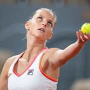 PARIS, FRANCE October 01. Carolina Pliskova of the Czech Republic in action against Jelena Ostapenko of Latvia in the second round of the singles competition on Court Philippe-Chatrier during the French Open Tennis Tournament at Roland Garros on October 1st 2020 in Paris, France. (Photo by Tim Clayton/Corbis via Getty Images)
