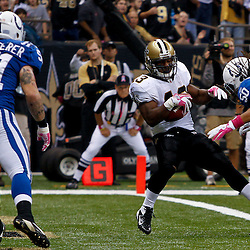 October 23, 2011; New Orleans, LA, USA; New Orleans Saints running back Darren Sproles (43) spins into the endzone for a touchdown past Indianapolis Colts linebacker Philip Wheeler (50) during the first quarter of a game at the Mercedes-Benz Superdome. Mandatory Credit: Derick E. Hingle-US PRESSWIRE / © Derick E. Hingle 2011