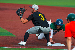 16 July 2020: b18 Braedon Blackford during a Kernel League Baseball game between the Bobcats and the Hoots at Corn Crib Stadium on the campus of Heartland Community College in Normal Illinois