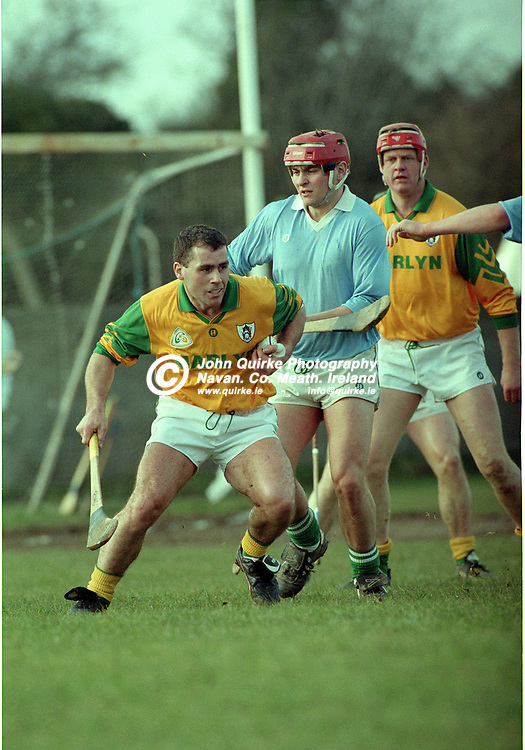 03-03-1996. Meath v Limerick - Church & General NHL at St. Loman's Park, Trim.<br /> John Gorry in action for Meath.<br /> Photo: John Quirke / www.quirke.ie<br /> ©John Quirke Photography, 16 Proudstown Road, Navan. Co. Meath. (info@quirke.ie / 046-9028461 / 087-2579454).