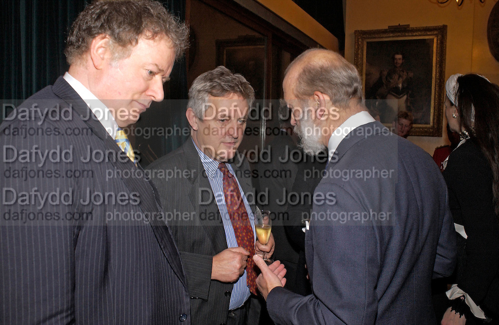 Richard Briggs, James Hughes-Onslow and Prince Michael of Kent. Reception to support the Hyde Park Appeal for Liberty Drives ( a charity which enables people to travel around Hyde Park in electric buggies) in the presence of Prince Michael of Kent. Officers Mess. Household Cavalry Mounted Regiment. Hyde Park Barracks. 30 November 2004. ONE TIME USE ONLY - DO NOT ARCHIVE  © Copyright Photograph by Dafydd Jones 66 Stockwell Park Rd. London SW9 0DA Tel 020 7733 0108 www.dafjones.com