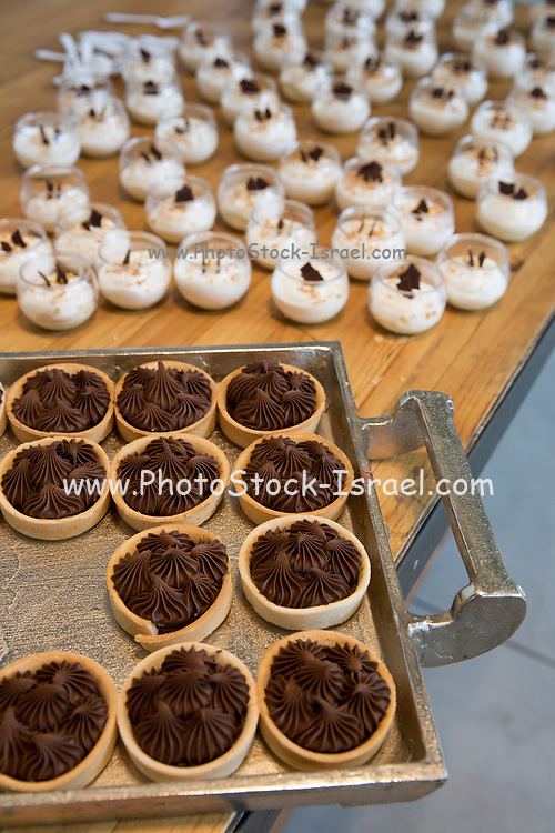 Chocolate vanilla flavoured mousse on a buffet table