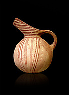 Early Minoan rounded jug with typical brownish red painted converging daigonal lines,  Hagios Onouphrios 2900-1900 BC BC, Heraklion Archaeological  Museum, black background. .<br /> <br /> If you prefer to buy from our ALAMY PHOTO LIBRARY  Collection visit : https://www.alamy.com/portfolio/paul-williams-funkystock/minoan-art-artefacts.html . Type -   Heraklion   - into the LOWER SEARCH WITHIN GALLERY box. Refine search by adding background colour, place, museum etc<br /> <br /> Visit our MINOAN ART PHOTO COLLECTIONS for more photos to download  as wall art prints https://funkystock.photoshelter.com/gallery-collection/Ancient-Minoans-Art-Artefacts-Antiquities-Historic-Places-Pictures-Images-of/C0000ricT2SU_M9w