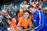 DEN HAAG - Keeper Jaap Stockmann , die zijn 100ste interland speelde na  de laatste poulewedstrijd tussen de mannen van  Nederland en Nieuw-Zeeland om de World Cup Hockey 2014. ANP KOEN SUYK