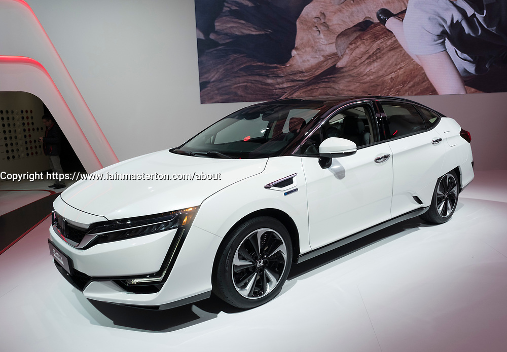Honda Clarity hydrogen fuel-cell powered car at 87th Geneva International Motor Show in Geneva Switzerland 2017