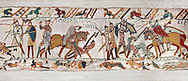 11th Century Medieval Bayeux Tapestry - Scene 57 - Harold dies after being shot in the eye with an arrow. Scene 58 - Williams army routes the saxom army. Battle of Hastings 1066. .<br /> <br /> If you prefer you can also buy from our ALAMY PHOTO LIBRARY  Collection visit : https://www.alamy.com/portfolio/paul-williams-funkystock/bayeux-tapestry-medieval-art.html  if you know the scene number you want enter BXY followed bt the scene no into the SEARCH WITHIN GALLERY box  i.e BYX 22 for scene 22)<br /> <br />  Visit our MEDIEVAL ART PHOTO COLLECTIONS for more   photos  to download or buy as prints https://funkystock.photoshelter.com/gallery-collection/Medieval-Middle-Ages-Art-Artefacts-Antiquities-Pictures-Images-of/C0000YpKXiAHnG2k