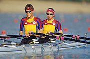 Sydney, AUSTRALIA, ROM LW2X [BURCICA, Constanta<br /> ALUPEI, Angela[ move away from the start pontoon during the 2000 Olympic Regatta, Penrith Lakes. [Photo Peter Spurrier/Intersport Images] 2000 Olympic Rowing Regatta00085138.tif