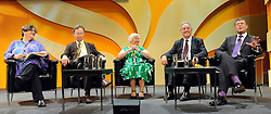 © Licensed to London News Pictures. 20/09/2011. BIRMINGHAM, UK.  Shirley Williams (C ) takes part in a panel discussion on the NHS at the Liberal Democrat Conference at the Birmingham ICC today (20 Sept 2011): Stephen Simpson/LNP . Photo credit : Stephen Simpson/LNP