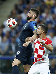(L-R) Olivier Giroud of France, Dejan Lovren of Croatia during the 2018 FIFA World Cup Russia Final match between France and Croatia at the Luzhniki Stadium on July 15, 2018 in Moscow, Russia