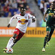 Lloyd Sam, New York Red Bulls, in action during the New York Red Bulls Vs Portland Timbers, Major League Soccer regular season match at Red Bull Arena, Harrison, New Jersey. USA. 24th May 2014. Photo Tim Clayton
