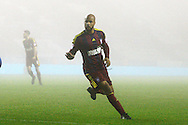 Ipswich's David McGoldrick (10) wheels away into the fog to celebrate scoring the winning goal 2-3 during the EFL Sky Bet Championship match between Wigan Athletic and Ipswich Town at the DW Stadium, Wigan, England on 17 December 2016. Photo by Craig Galloway.