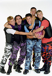 American boy band 'N Sync pose in the studio. (l-r) Lance Bass, Chris Kirkpatrick, Joey Fatone, JC Chasez and Justin Timberlake