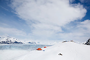 Glaciologists at their camp overlooking the Columbia Glacier, near Valdez, Alaska.