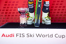 Trophy and boots of winner LIGETYTed of USA at medal ceremony during the 2nd Run of Men's Giant Slalom - Pokal Vitranc 2014 of FIS Alpine Ski World Cup 2013/2014, on March 8, 2014 in Vitranc, Kranjska Gora, Slovenia. Photo by Matic Klansek Velej / Sportida