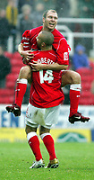 Fotball<br /> England 2004/2005<br /> Foto: SBI/Digitalsport<br /> NORWAY ONLY<br /> <br /> Swindon Town v Hull City<br /> The Coca-Cola Football League one. County Ground.<br /> 20/11/2004<br /> <br /> Swindon's Sam Parkin celebrates his goal with team mate Christian Roberts