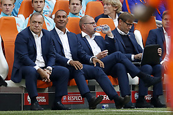(L-R) coach Dick Advocaat of Holland, assistant trainer Ruud Gullit of Holland, assistant trainer Fred Grim of Holland, goalkeeper trainer Frans Hoek of Holland, doctor Edwin Goedhart of Holland during the FIFA World Cup 2018 qualifying match between The Netherlands and Bulgariaat the Amsterdam Arena on September 03, 2017 in Amsterdam, The Netherlands