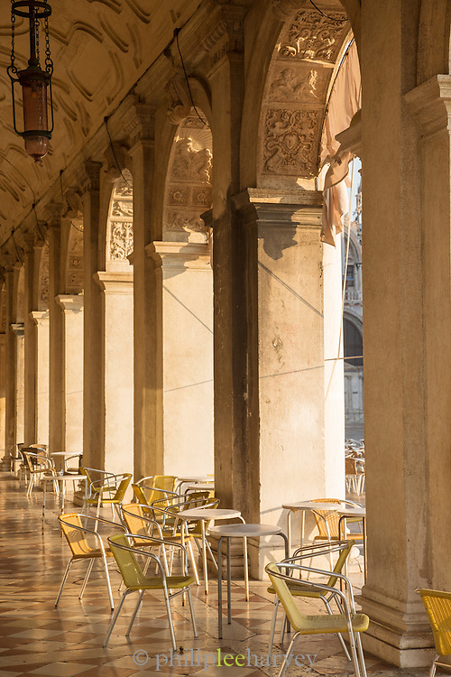 Restaurant areas on St Mark's Square.Venice, Italy, Europe