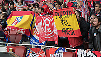 Football - 2017 / 2018 UEFA Europa League - Semi-Final, First Leg: Arsenal vs. Atletico Madrid<br /> <br /> Atletico Madrid fans in fine voice as their team enter the stadium for pre match warm up at The Emirates.<br /> <br /> COLORSPORT/DANIEL BEARHAM