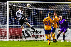 Lewis Baines of Chorley heads at goal - Mandatory by-line: Ryan Crockett/JMP - 09/11/2019 - FOOTBALL - One Call Stadium - Mansfield, England - Mansfield Town v Chorley - Emirates FA Cup first round