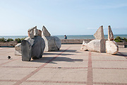 The promenade along the ocean at Furadouro beach, Ovar, a small municipality on the Atlantic ocean coast, Portugal